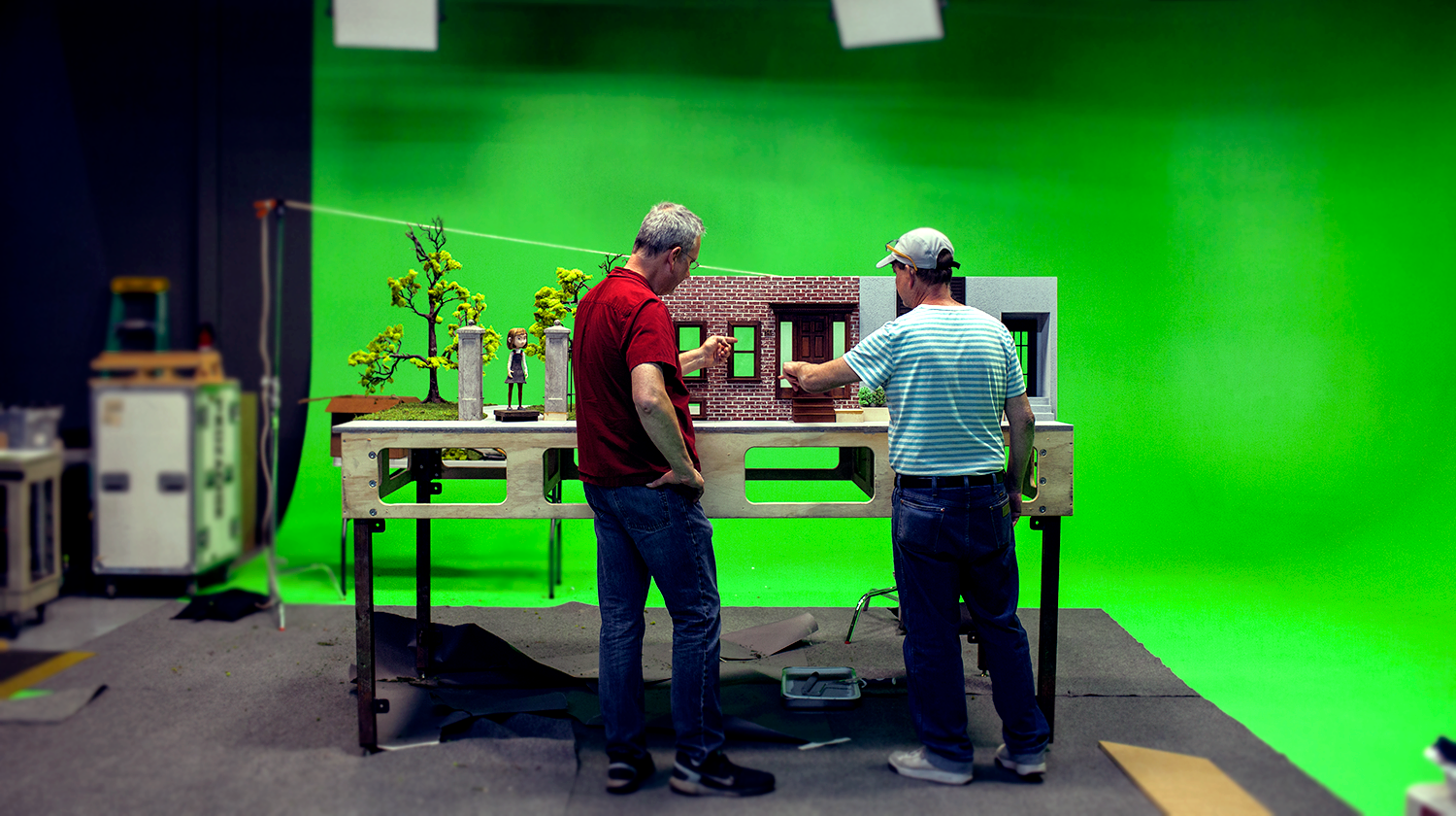 Green Screen Stage with Stop-Motion Animation setup